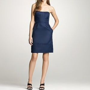 J crew strapless navy party dress with pockets